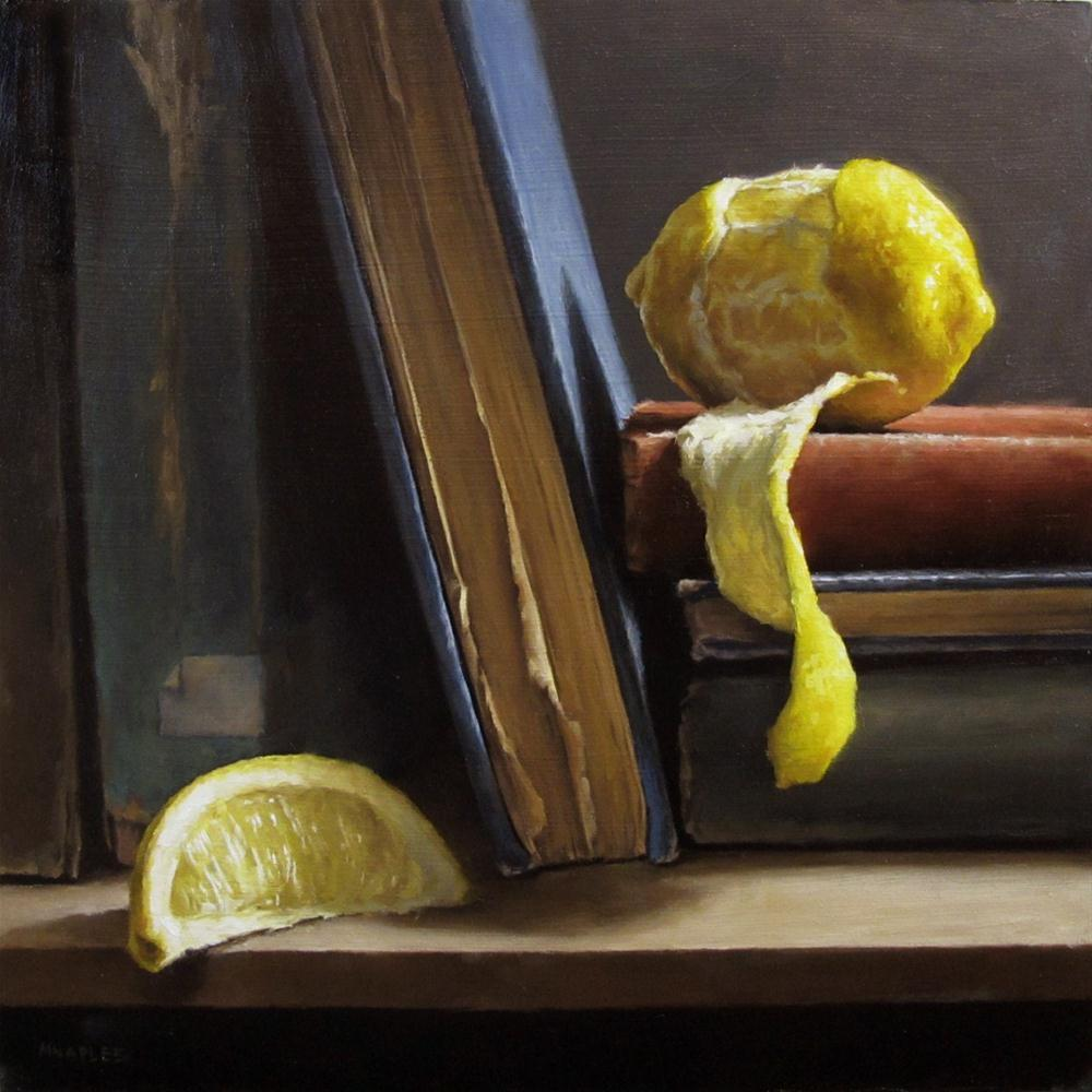 """Peeled Lemon with Antique Books"" original fine art by Michael Naples"