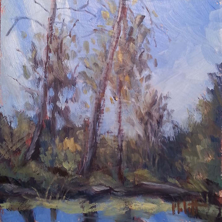 """Crisp Fall Canoe Trip Original Oil Painting"" original fine art by Heidi Malott"