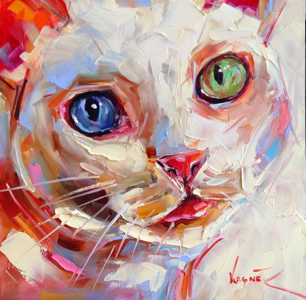 """Loving Color Day 2 - ORIGINAL WHITE CAT PAINTING in OIlS by OLGA WAGNER"" original fine art by Olga Wagner"