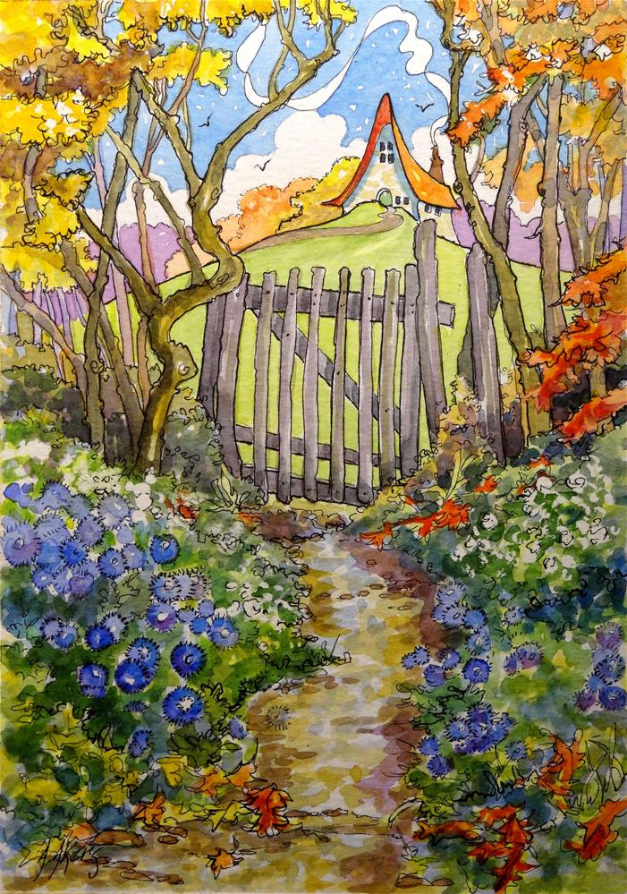 """""""Up the Lane to Autumn"""" original fine art by Alida Akers"""