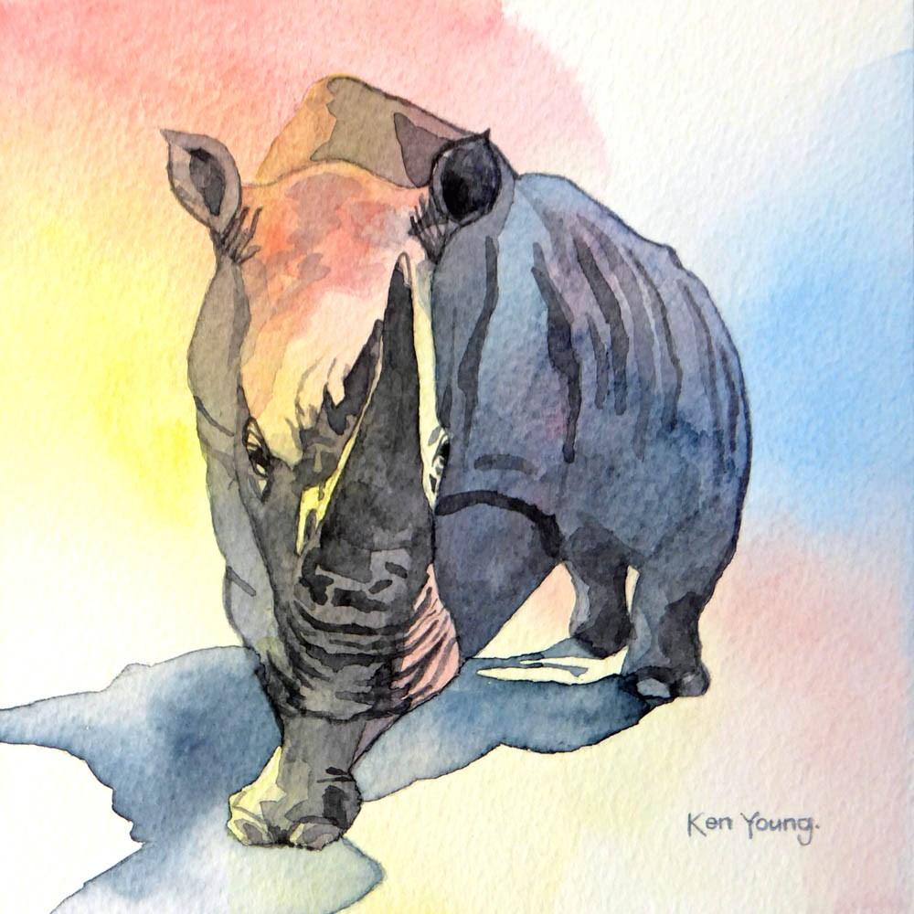 """""""Rhino"""" original fine art by Ken Young"""