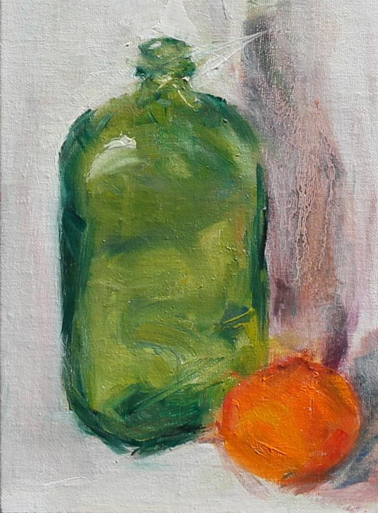 """Green Bottle"" original fine art by Karen Solorzano"