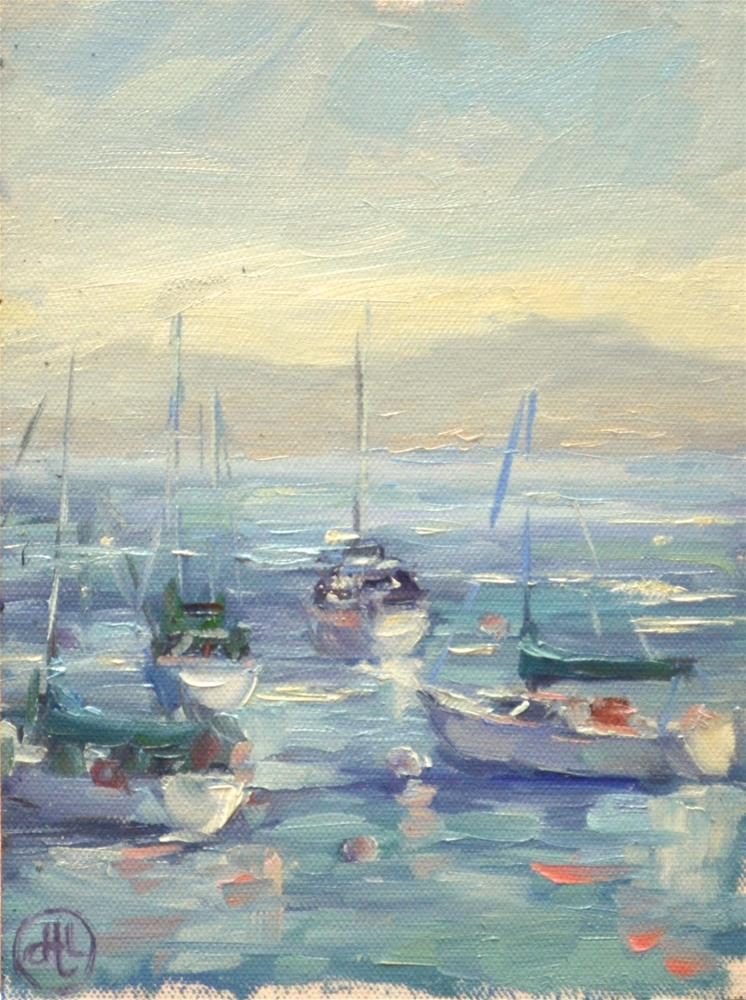 """boats in the bay"" original fine art by Dottie  T  Leatherwood"
