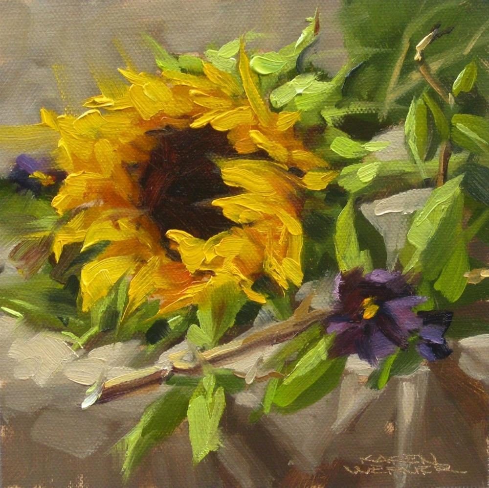 """""""Sunflower & Twig"""" original fine art by Karen Werner"""
