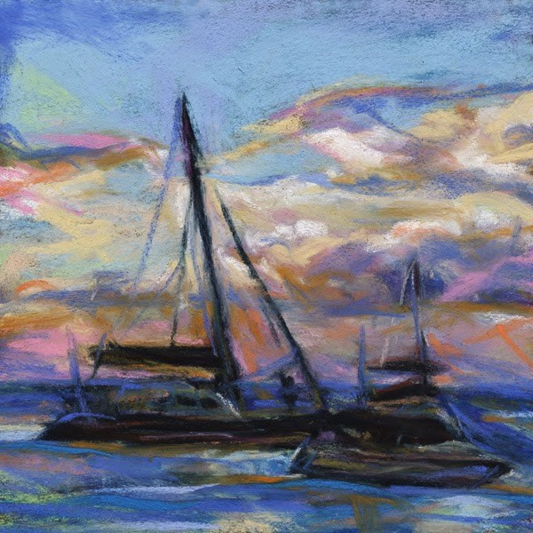 """BRINK OF SUNSET - 6  x 6 seascape pastel by Susan Roden"" original fine art by Susan Roden"