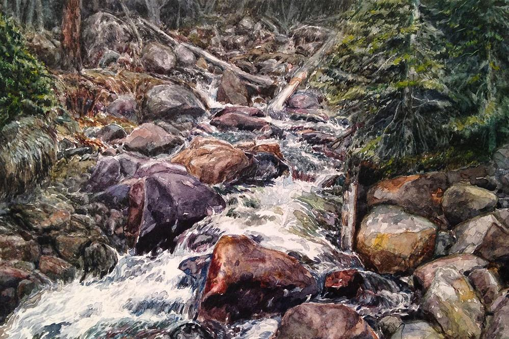 """Blue River Falls"" original fine art by Stephen Ravenscraft"