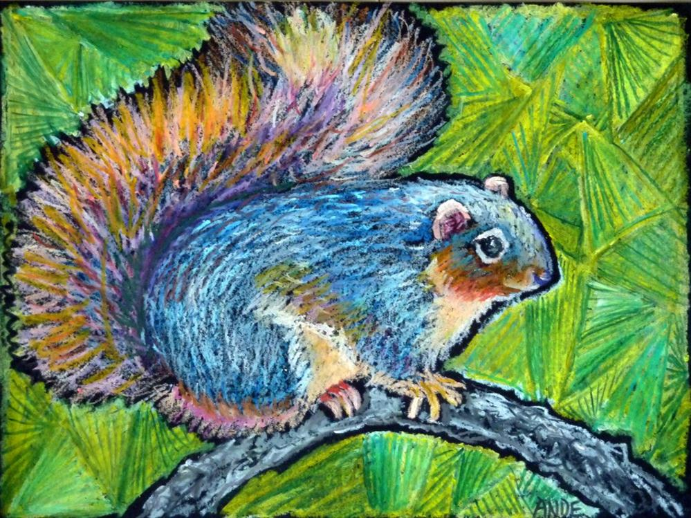 """Bushy Blue Fox Squirrel"" original fine art by Ande Hall"