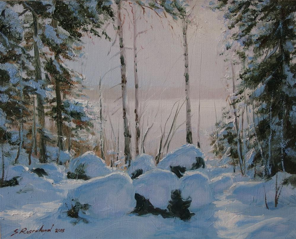 """After a snowy day"" original fine art by Stig Rosenlund"