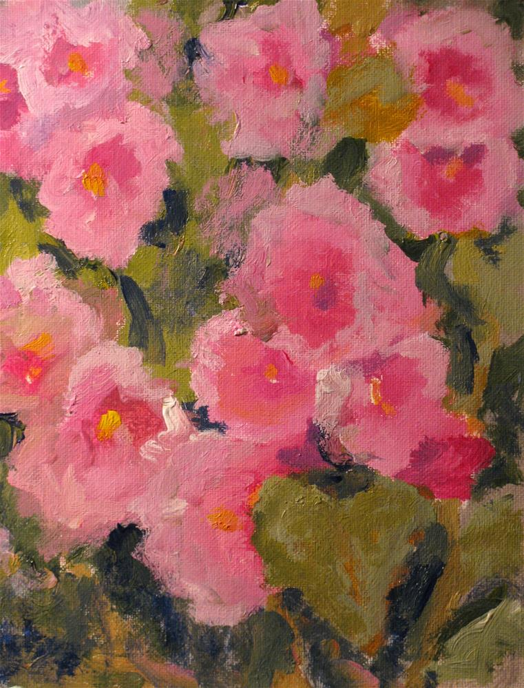 """Pink Hollyhocks"" original fine art by Susan Elizabeth Jones"