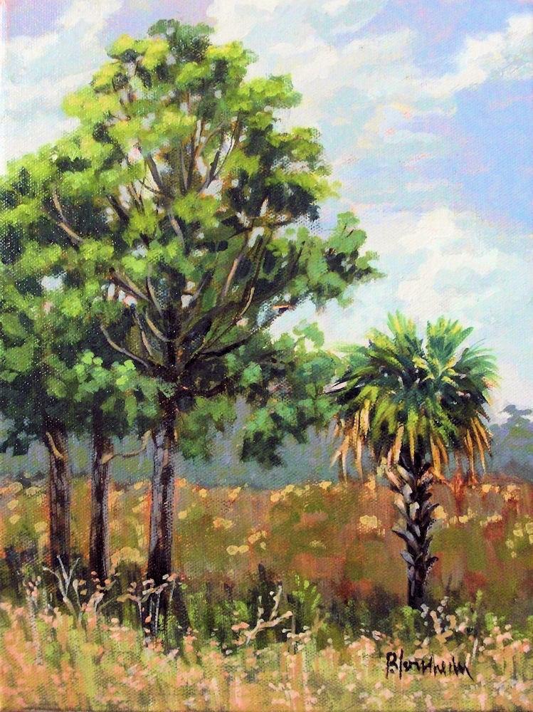 """Tuscawilla Prairie Trees"" original fine art by Linda Blondheim"