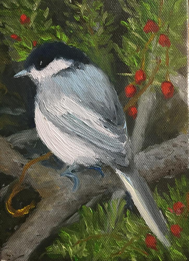 """Chicadee"" original fine art by Carole Chalmers"