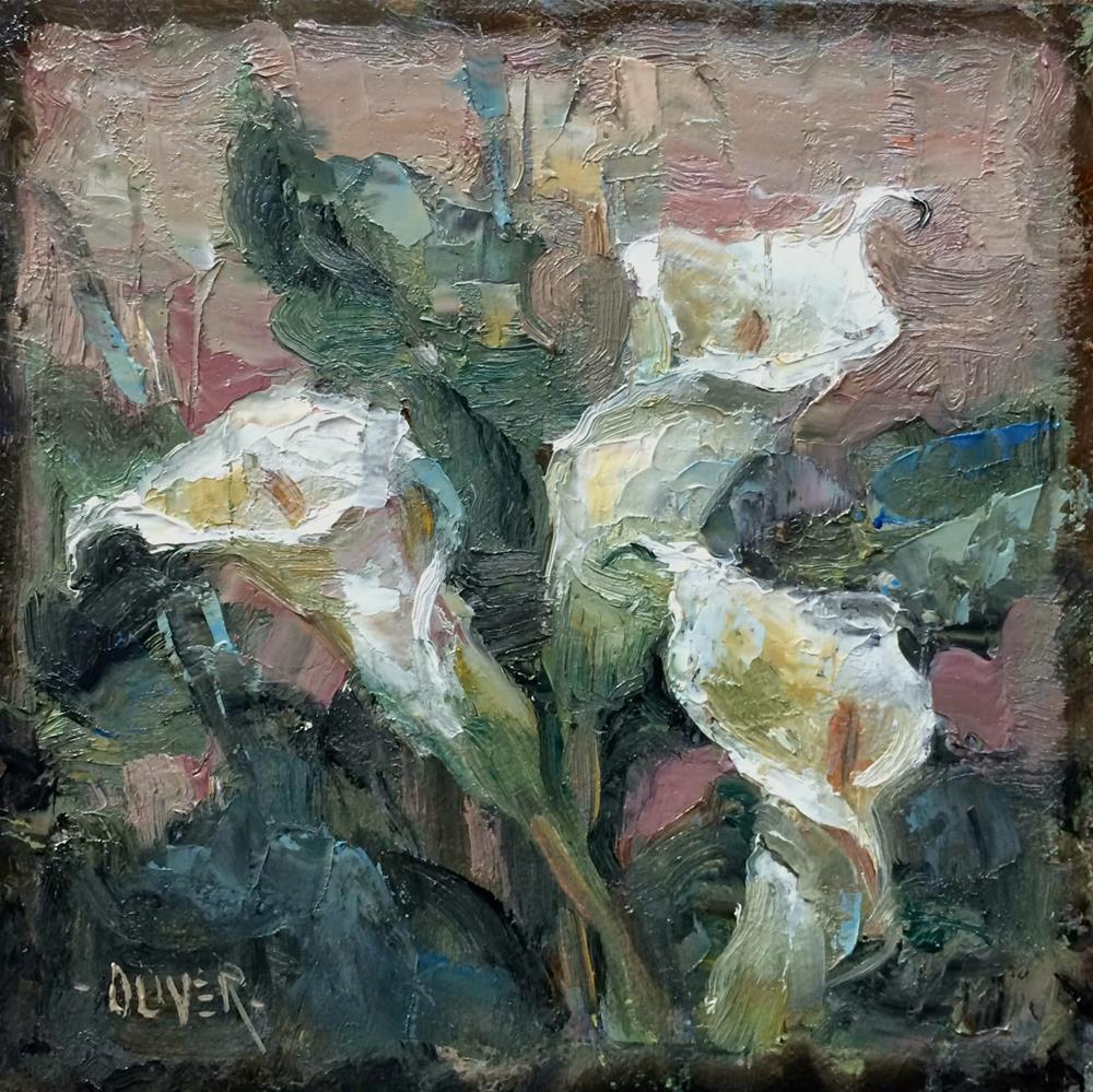 """Trio of Calla Lillies - day 21 of the challenge"" original fine art by Julie Ford Oliver"