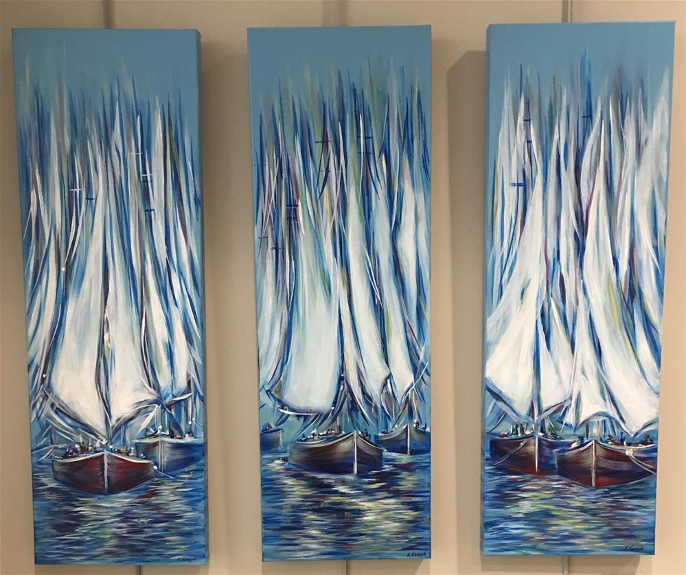 """Boats Fantasy Before Sunset"" original fine art by Khrystyna Kozyuk"