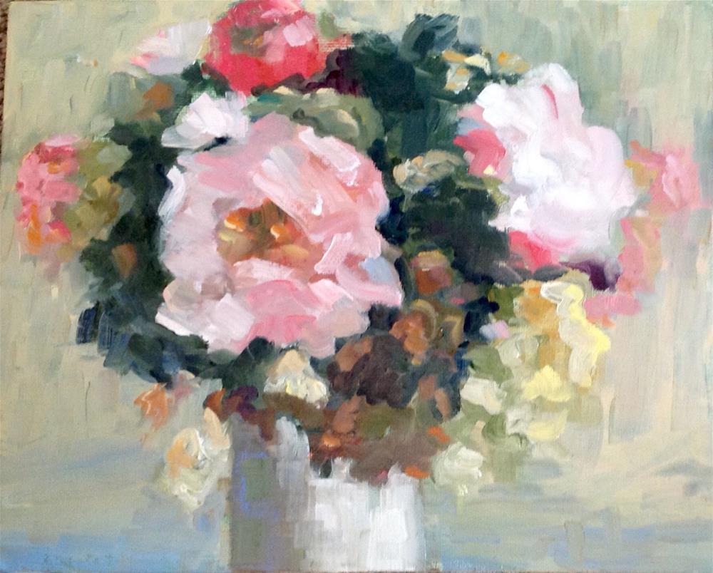 """Peonies"" original fine art by Wanda Lowery"