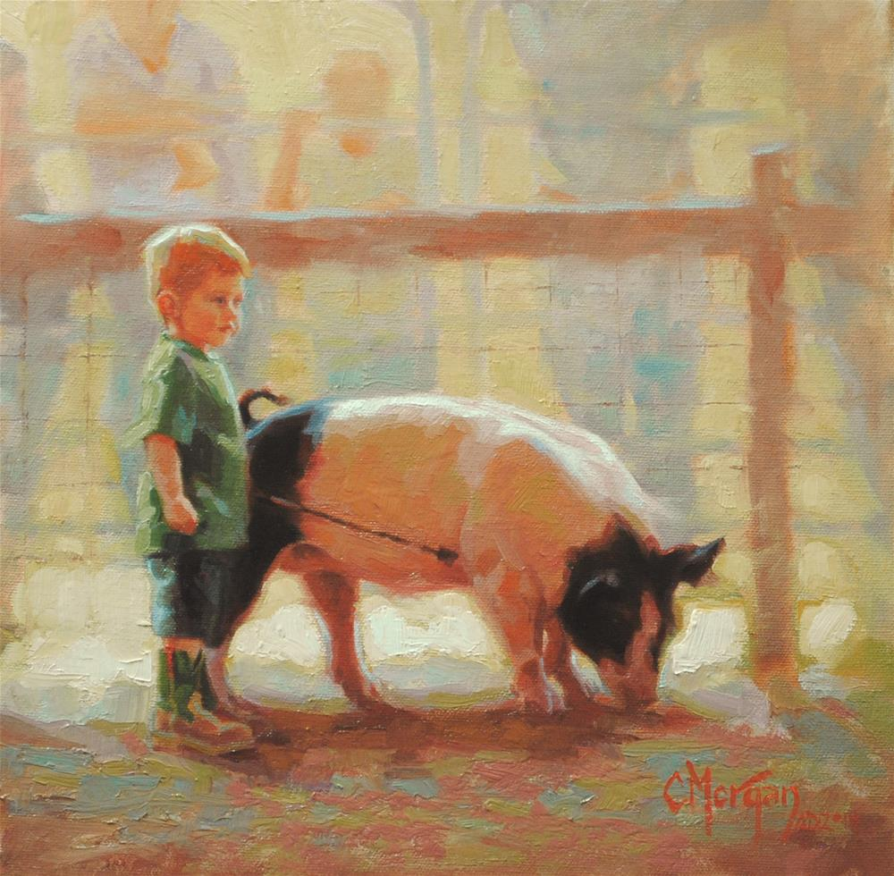 """A Boy and His Pig"" original fine art by Cecile W. Morgan"
