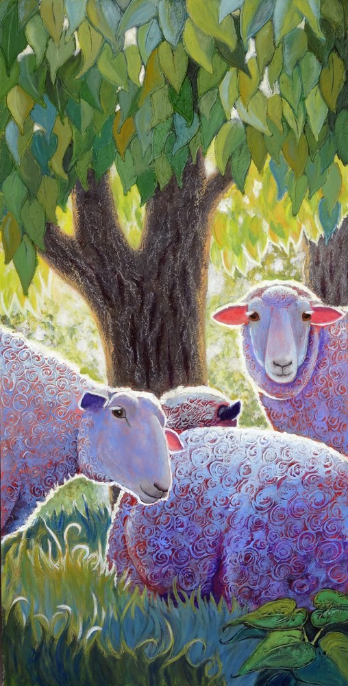 """Three Ewes"" original fine art by Ande Hall"
