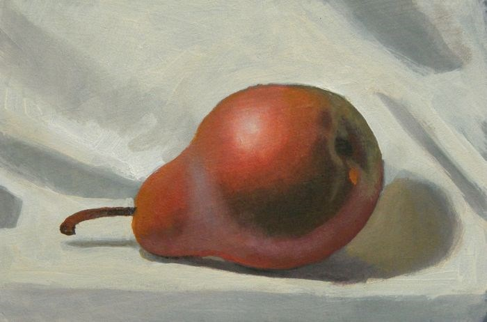 """red pear"" original fine art by Peter Orrock"