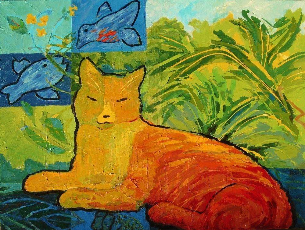 """Key West Cat"" original fine art by Priscilla Bohlen"