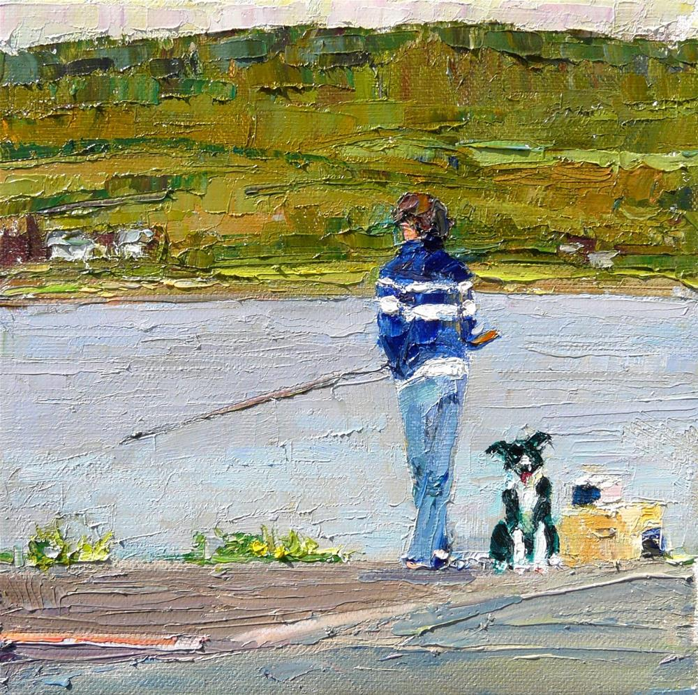 """Best Pals Fishing,figures,oil on canvas,8x8,price$500"" original fine art by Joy Olney"