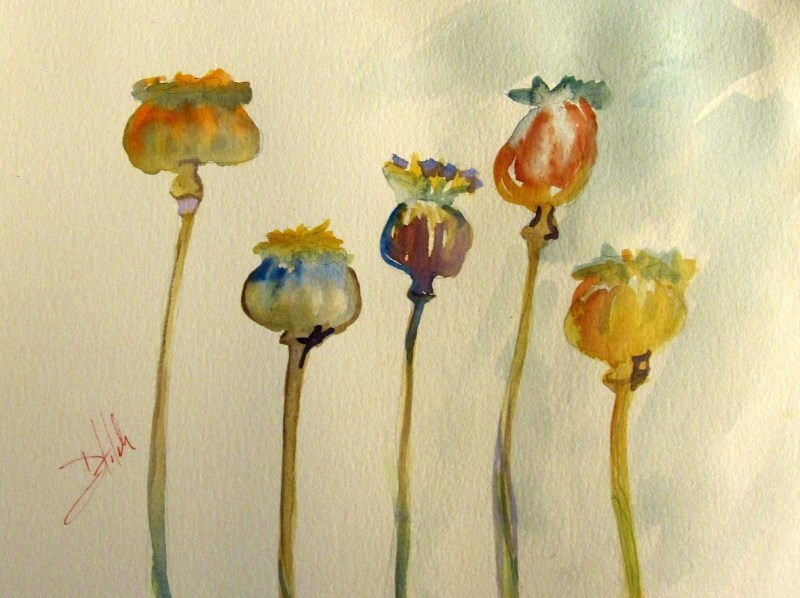 """Poppies No. 7"" original fine art by Delilah Smith"