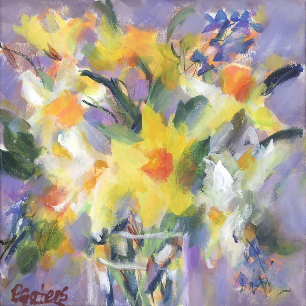 """Daffodil Rain"" original fine art by Pamela Gatens"
