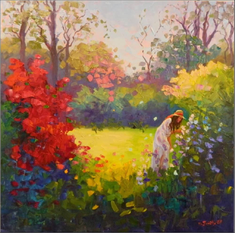 """Her Garden, 24x24, oil on canvas, paintings of gardens, women in gardens, summer gardens, florals,"" original fine art by Maryanne Jacobsen"