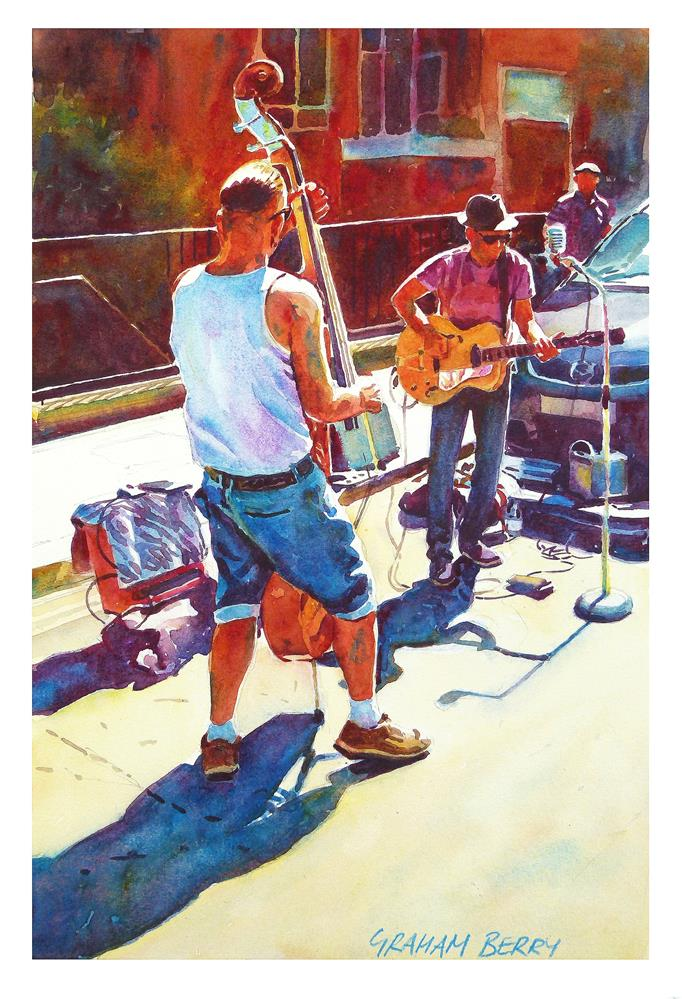 """Two buskers."" original fine art by Graham Berry"