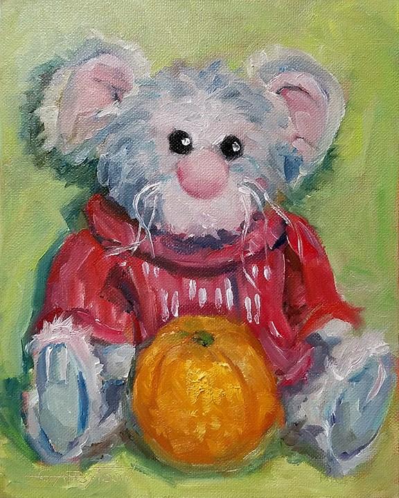 """""""A Winter Mouse"""" original fine art by Gabriella DeLamater"""