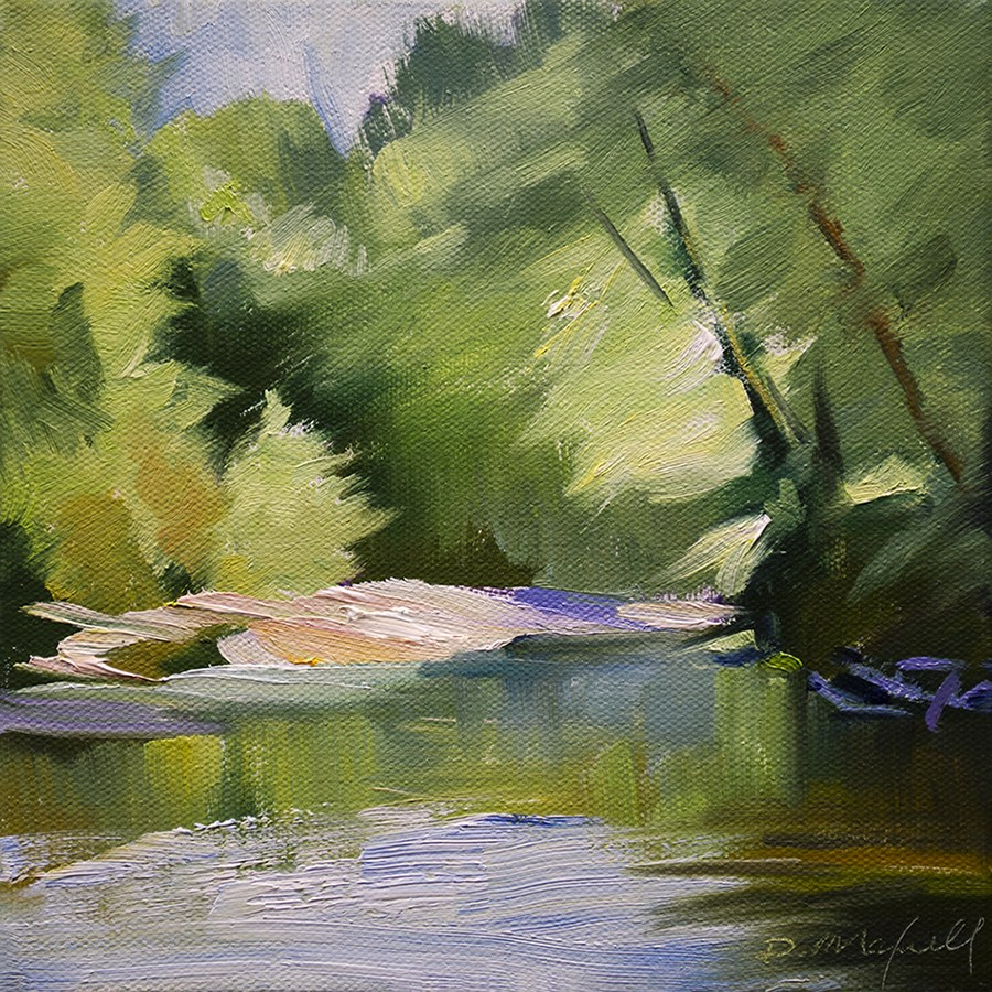 """Streaming Light on Shallow River"" original fine art by Denise Maxwell"