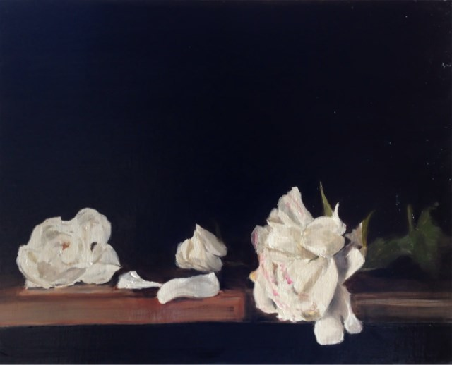 """White Roses"" original fine art by James Coates"
