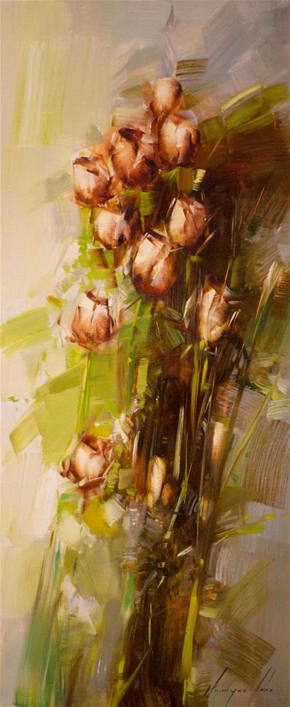 """Roses Handmade oil Painting Contemporary"" original fine art by V Y"