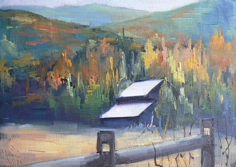 """THE OLD BARN SLEEPS, IGNORED, 5X7, Original Oil, Canvas Board"" original fine art by Carol Schiff"