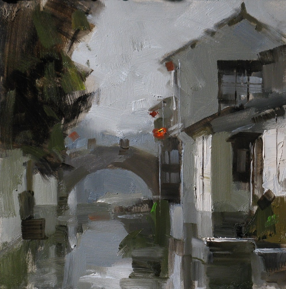 """Zhouzhuang Impression"" original fine art by Qiang Huang"