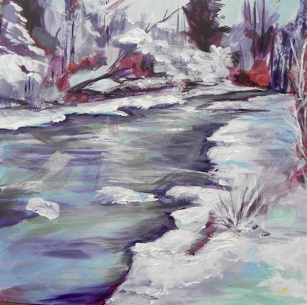 """Snowy Stream"" original fine art by cheryl buhrman"