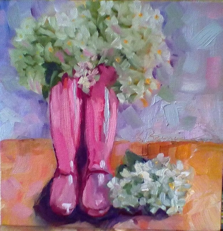 """Pink Boots"" original fine art by Kathleen Barnes"
