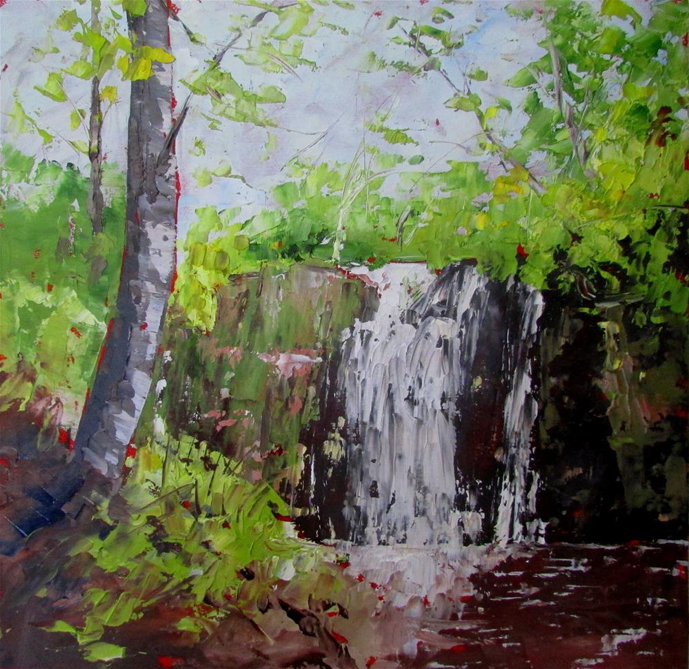 """8 x 8 inch oil Waterfall in the Forest"" original fine art by Linda Yurgensen"