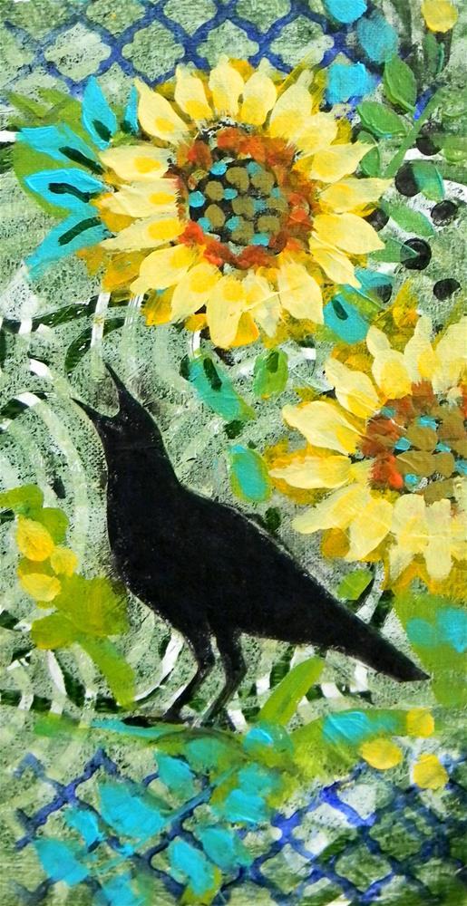 """Bird Black Sunflowers"" original fine art by De Selby"
