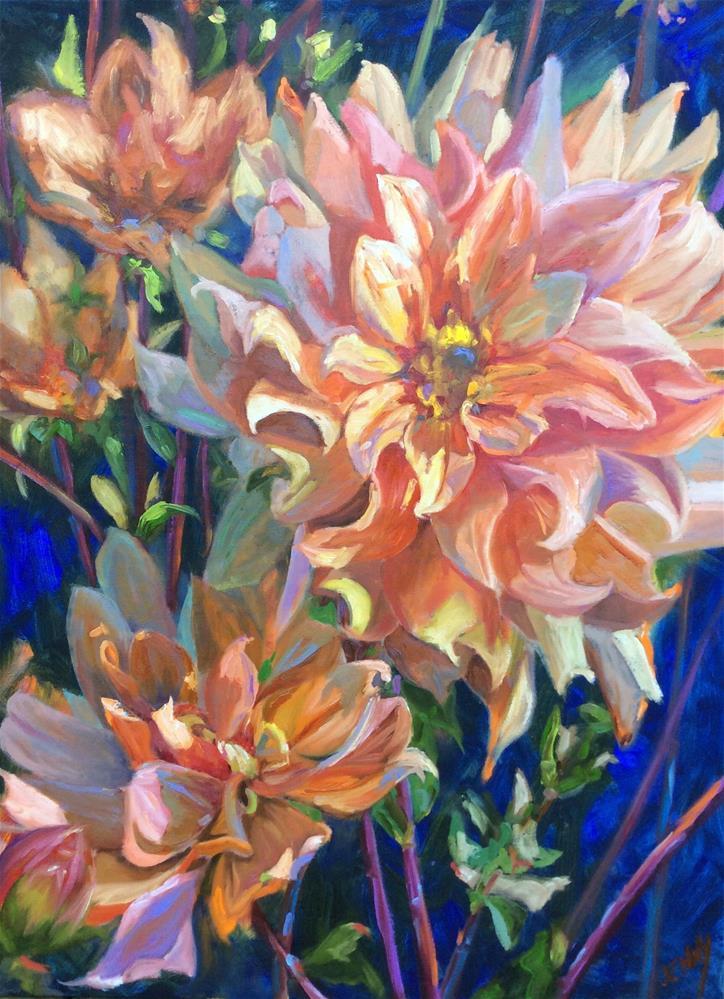 """Dahlias"" original fine art by Jenny Buckner"
