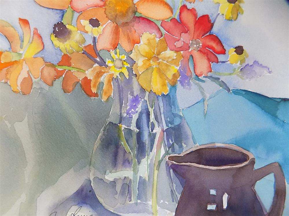 """Cosmos with Brown Jug"" original fine art by Joan Reive"