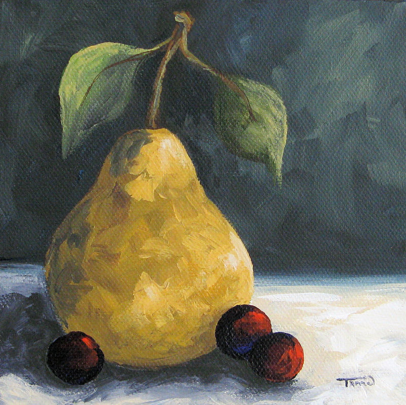 """Golden Pear with Grapes"" original fine art by Torrie Smiley"