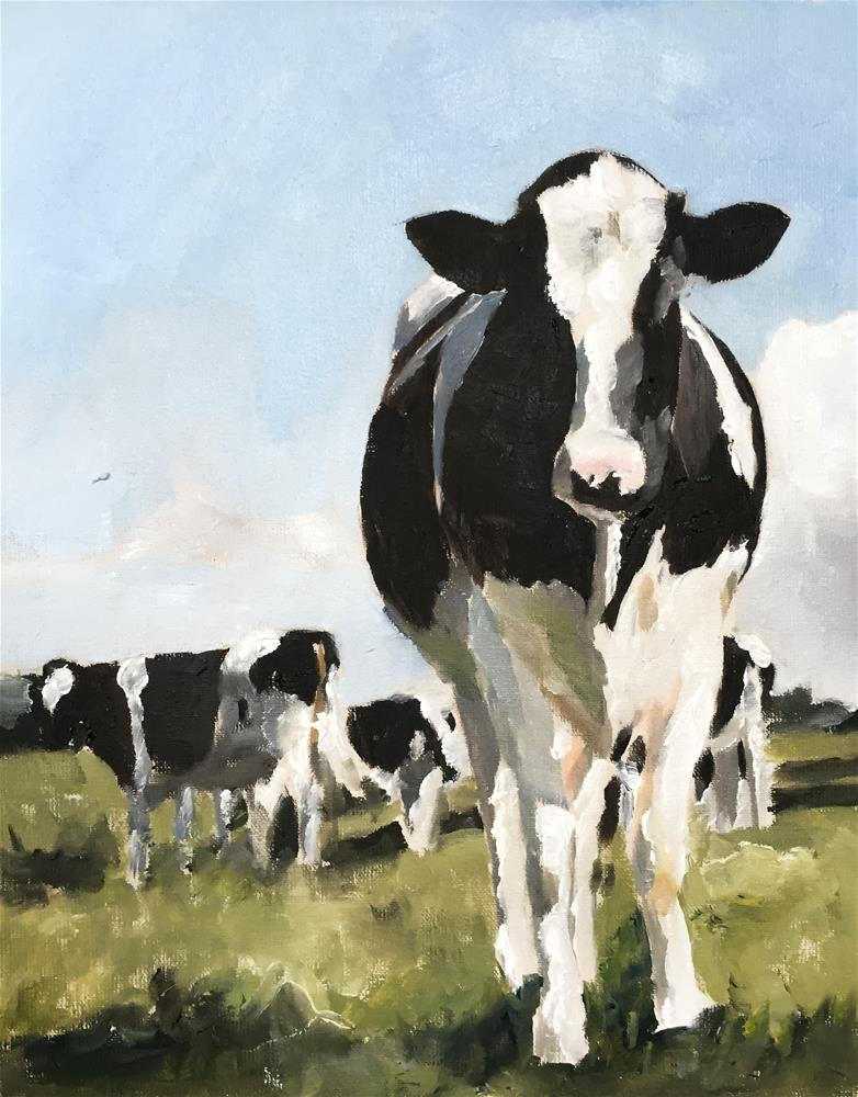 """Cows"" original fine art by James Coates"