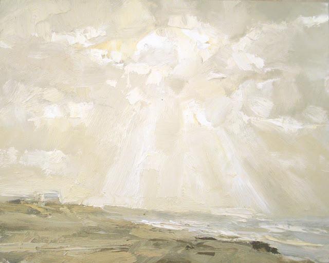 Seascape winter # 8 White light - zeegezicht original fine art by Roos Schuring