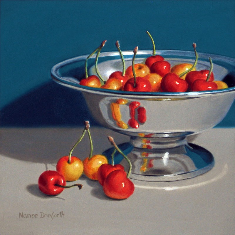 """Rainier Cherries in Silver Bowl IV"" original fine art by Nance Danforth"