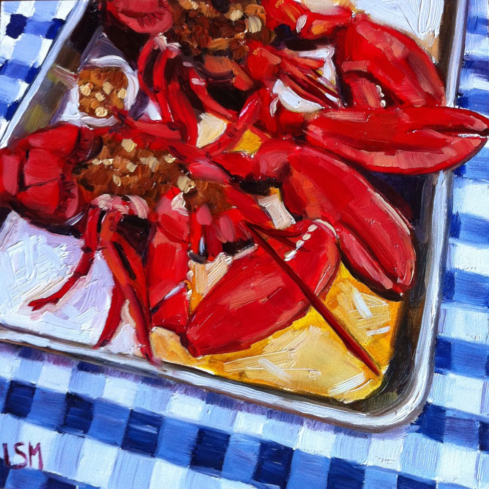 """Red Hot Lobsters!"" original fine art by Linda Marino"