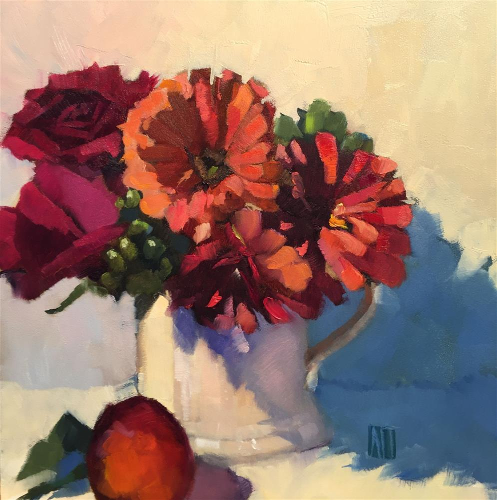 """Zinnias in a Mug"" original fine art by Amy Irwin Tank"