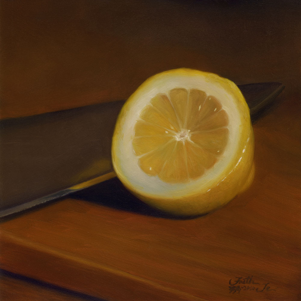 """Lemon Half with Knife"" original fine art by Faith Te"