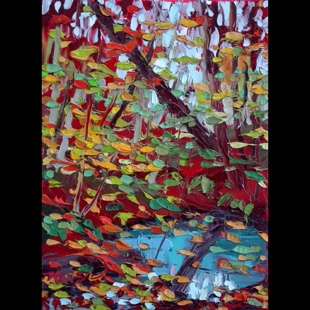 """121316 S 8x6 no2 Turquoise Creek"" original fine art by Charlene Marsh"