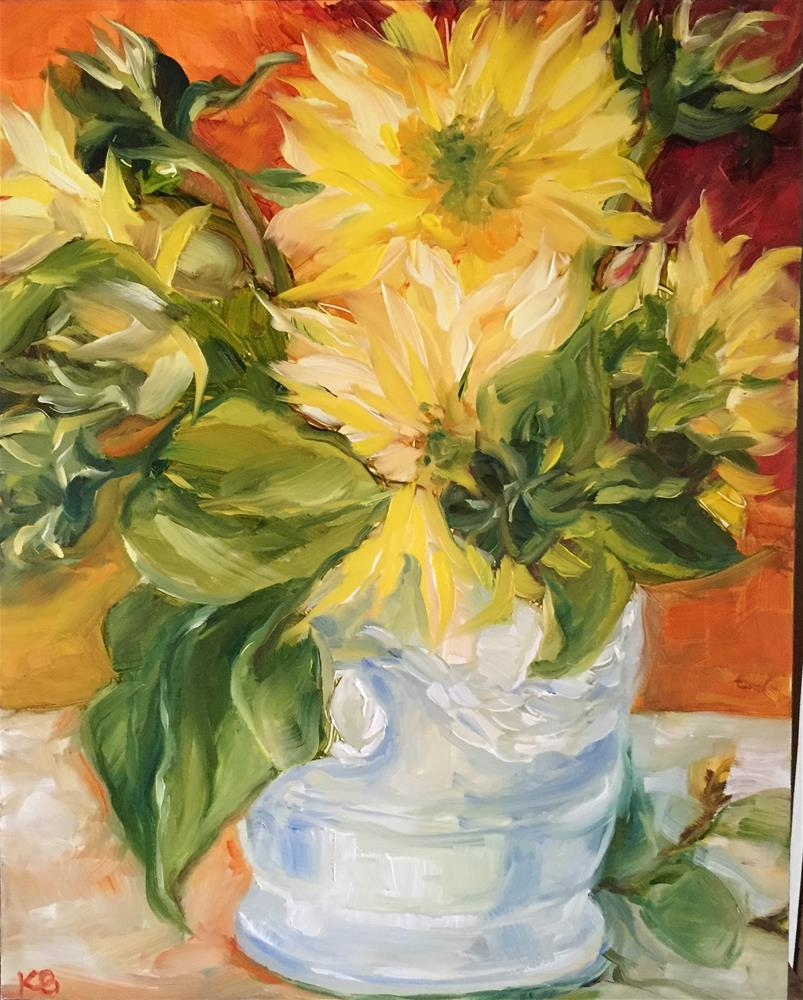 """Vintage Sunflowers"" original fine art by Kim Boyer"