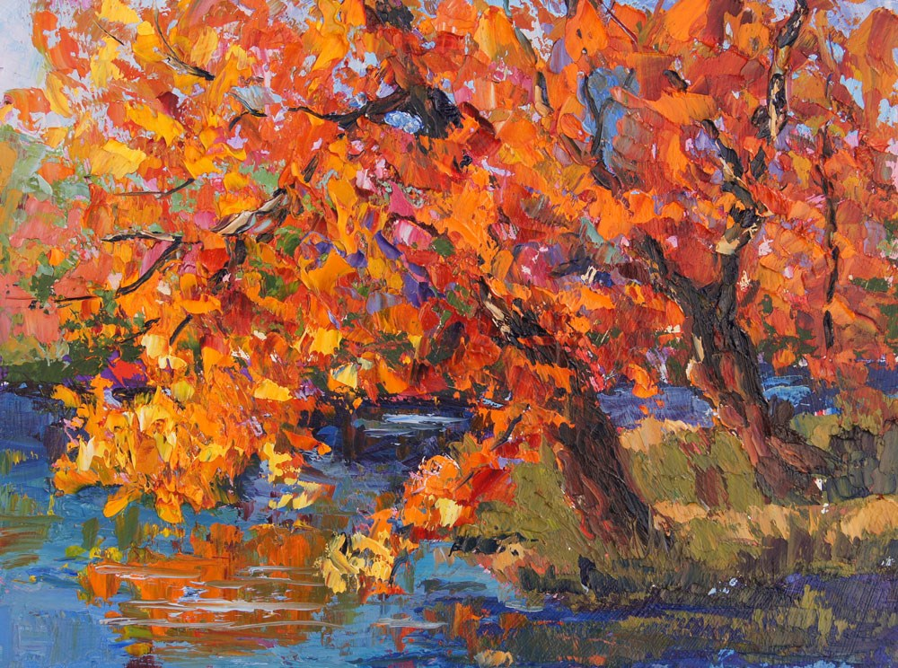 """Autumn Blaze palette knife painting"" original fine art by Marion Hedger"