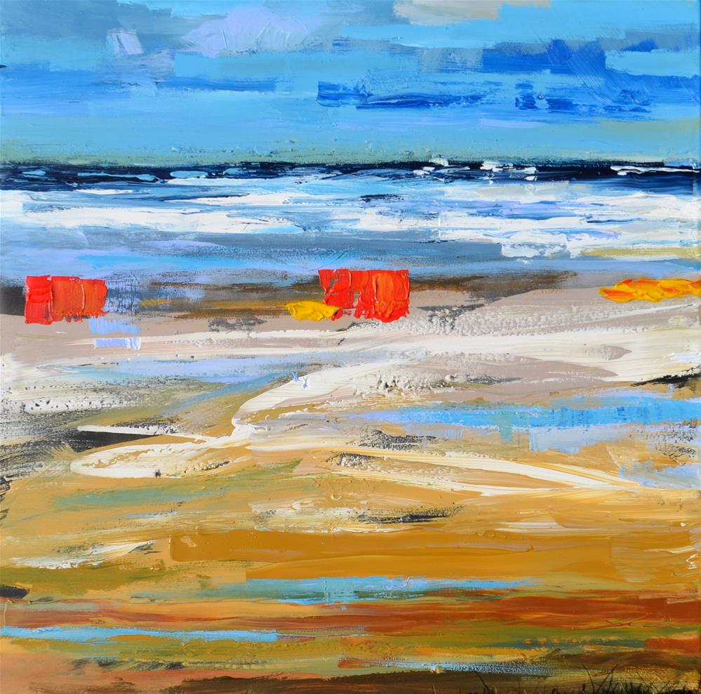 """Colourful beach"" original fine art by Wim Van De Wege"